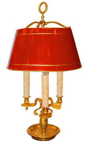 A 19th Century French Three-Light Brass Bouillotte Lamp No. 2567
