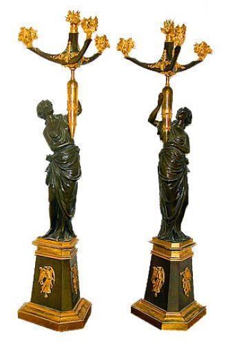A Pair of 19th Century French Empire Gilt-Bronze & Patinated Four-Light Candelabras No. 954