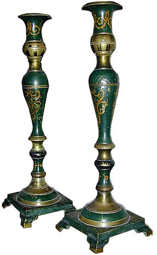 A Rare Pair of 19th Century Italian Green Polychrome Brass Candlesticks No. 518