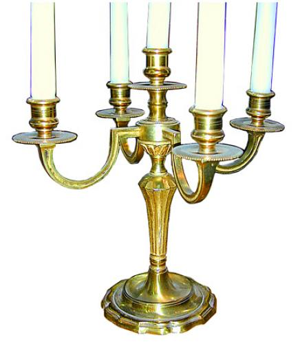 A Pair of 19th Century Gilt Brass Five-Light Candelabras No. 347