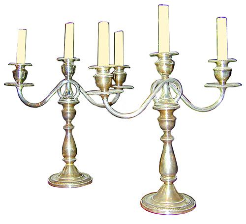 A Pair of English Three-Arm Candelabras No. 297