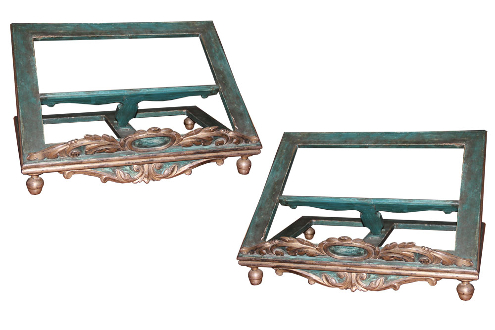 An Exquisite Pair of 19th Century Italian Silver-Gilt and Turquoise Polychrome Adjustable Bookstands No. 497