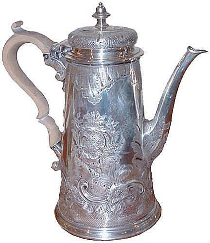 A 19th Century English Repoussé Silvered Coffee Pot No. 2427