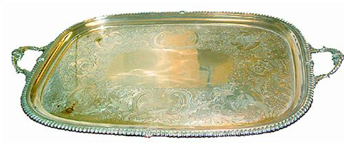 A Classic 19th Century Racetrack Shaped and Silvered Serving Tray No. 2418