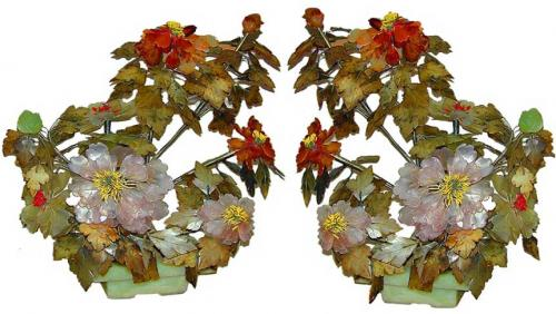 A Pair of Fine 19th Century Chinese Export Jade Trees No. 2347