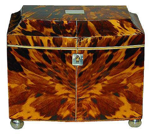 A Sophisticated 19th Century Regency Bow Front Blonde Tortoiseshell Tea Caddy No. 2221