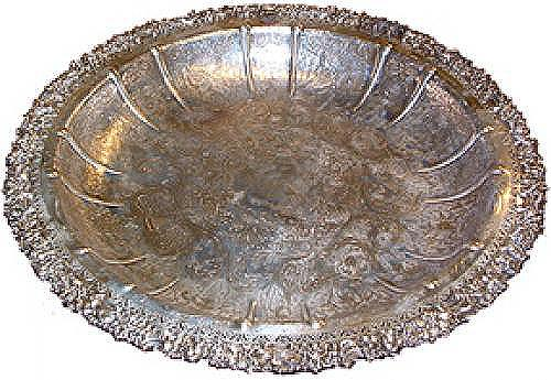 A 19th Century Circular Silvered Serving Platter No. 2515