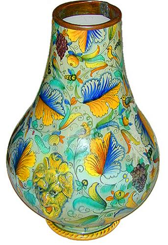 A Rare and Unusually Large 19th Century Becco Aperto Majolica Urn No. 2188