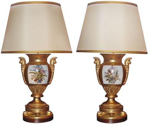 An Elegant Pair of Gilded Porcelain de Paris Vases, Now Electrified as Lamps No. 2185
