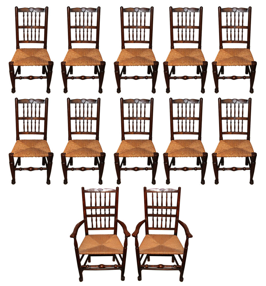 A Harlequin Set of Twelve 18th Century English Elmwood Spindle-Back Chairs No. 602