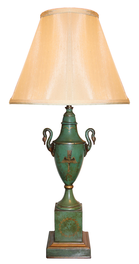 An 18th Century Empire Green Polychrome Tole Lamp with Swan-Neck Handles No. 617