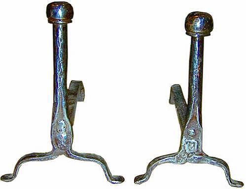 A Pair of 18th Century French Hand-Forged Wrought Iron Andirons No. 1981