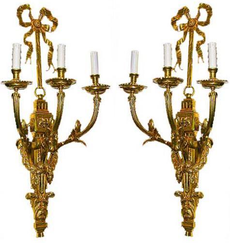 A Pair of 19th Century French Gilt-bronze Louis XVI Style Three-Arm Wall Appliqués No. 193