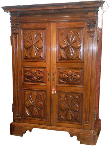 A Rare 17th Century Italian Walnut Armoire 1410