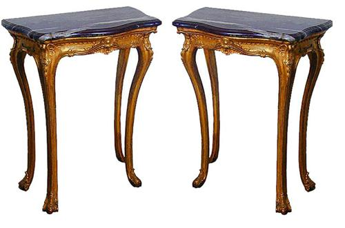 A Pair of Exceptionally Rare Sized 19th Century Sicilian Giltwood Consoles No. 540