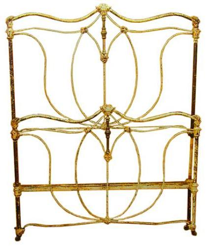 A Continental Wrought Iron and Brass Polychrome Bed No. 1784