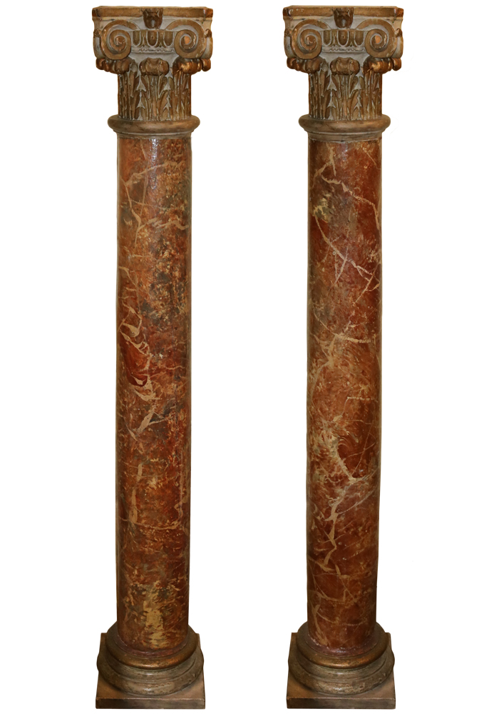 A Pair of 18th Century Italian Rouge Faux Marble and Gilt Columns No. 763
