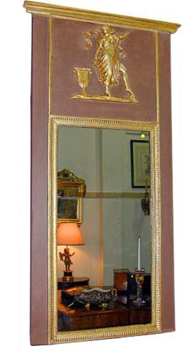 An 18th Century Italian Polychrome & Parcel Silver-Gilt Trumeau Mirror No. 797
