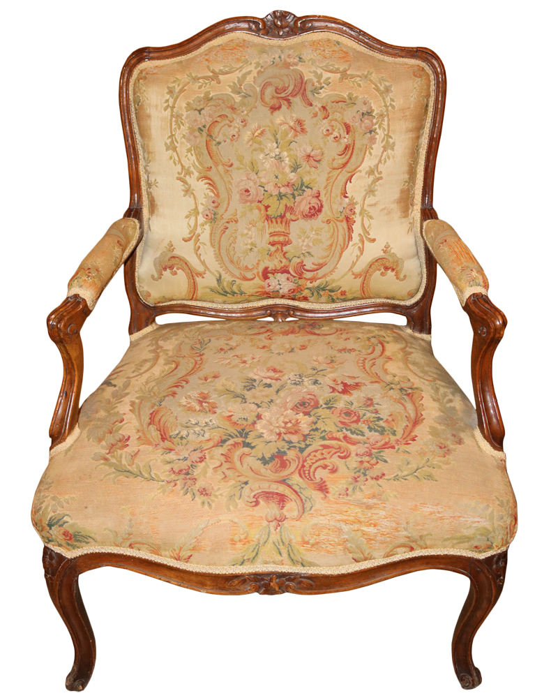 A Fine 18th Century French Louis XV Birch Armchair No. 835