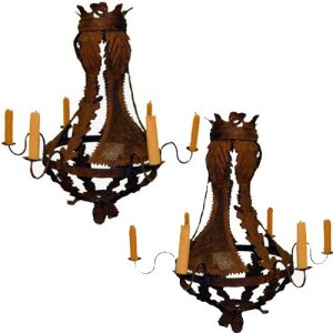 A Pair of Italian Baroque Six- Light Iron Chandeliers No. 1822