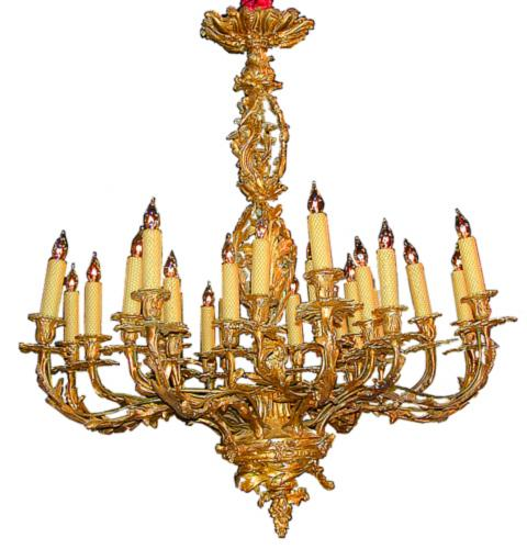 A 19th Century French Gilt Bronze Twenty-Four Light Rococo Chandelier No. 1812