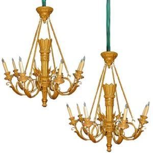A Fine Pair of Italian Louis XV Style Carved Giltwood Chandeliers No. 1395