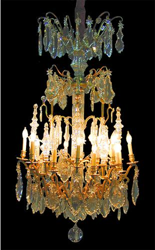 A 19th Century Italian Louis XV Style Gilt-Bronze Sixteen- Light Crystal Chandelier No. 1320