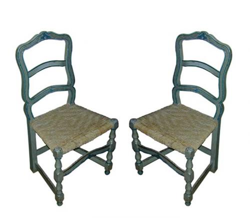 A Pair of 18th Century Blue Polychrome French Side Chairs No. 1765