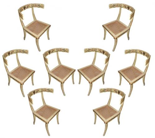 A Set of Eight 18th Century Italian Polychrome Klismos Chairs No. 1436