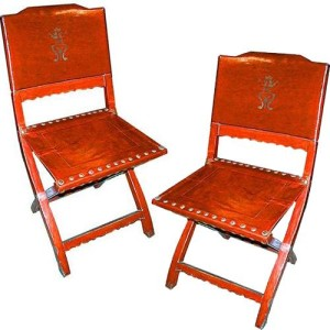A Rare Pair of 19th Century Chinese Red Pigskin Folding Chairs No. 400