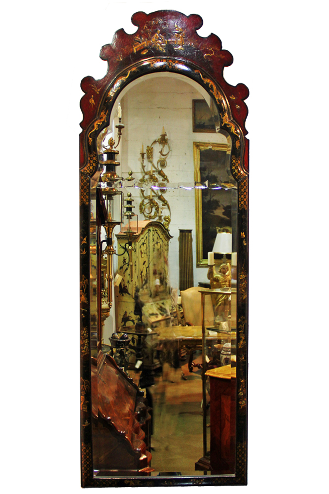 A Large 19th Century English Black Lacquer Chinoiserie Mirror No. 988