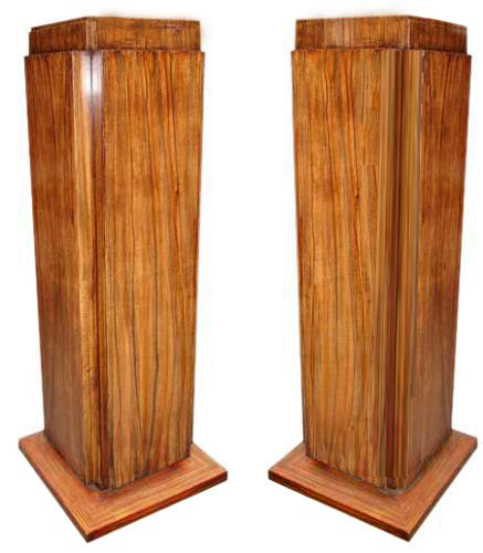 A Pair of Modern Art Deco Style Faux Rosewood Pedestals No. 3018