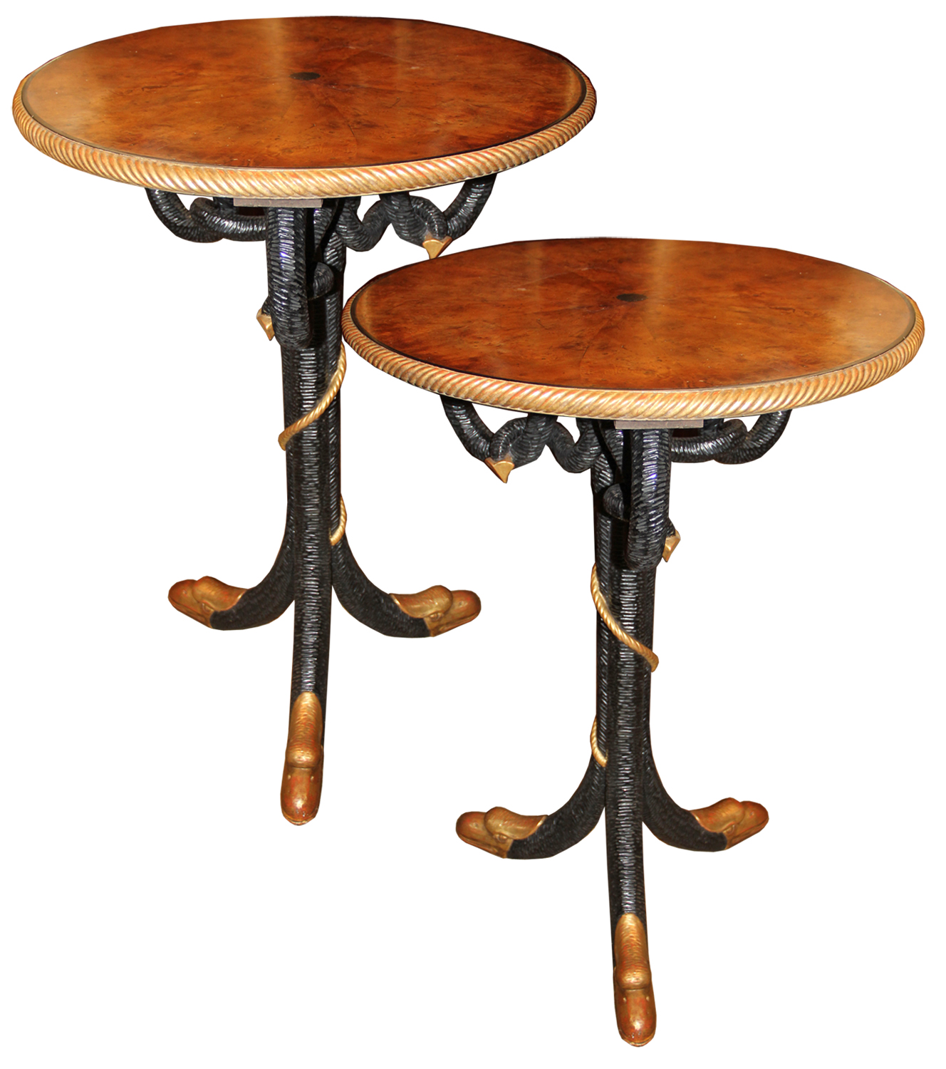 An Unusual Pair of 19th Century Italian Burl Elmwood, Ebonized and Parcel-Gilt Side Tables No. 4516