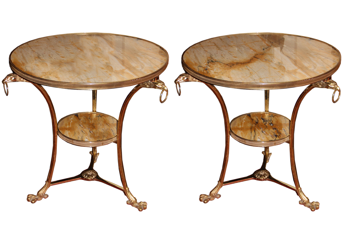 A Pair of 19th Century Louis XV Ormolu Gueridons with Unusual Siena Marble Tops and Conforming Undertiers No. 4517