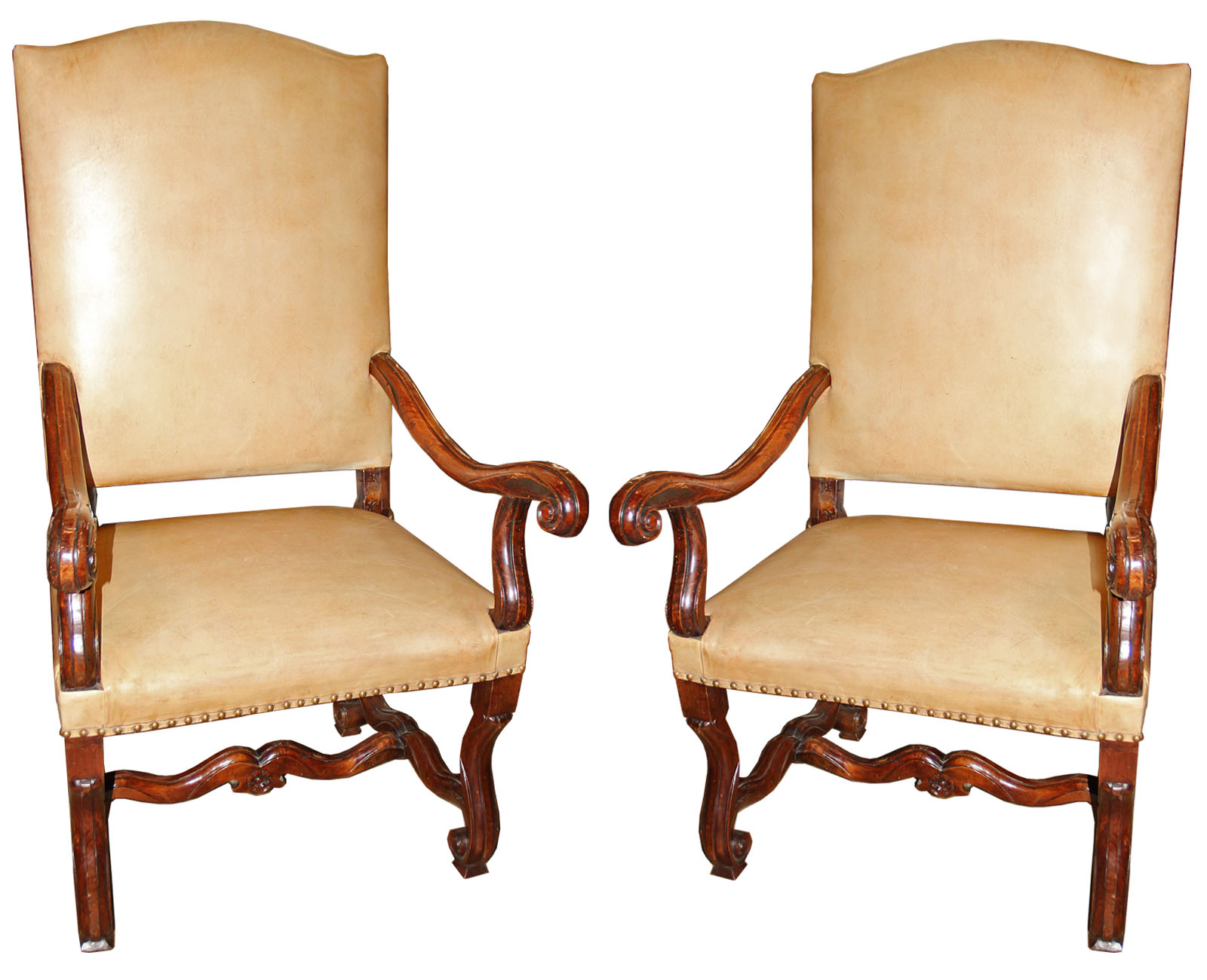A Pair of 18th Century Italian Louis XIV Walnut Fauteuils No. 4525