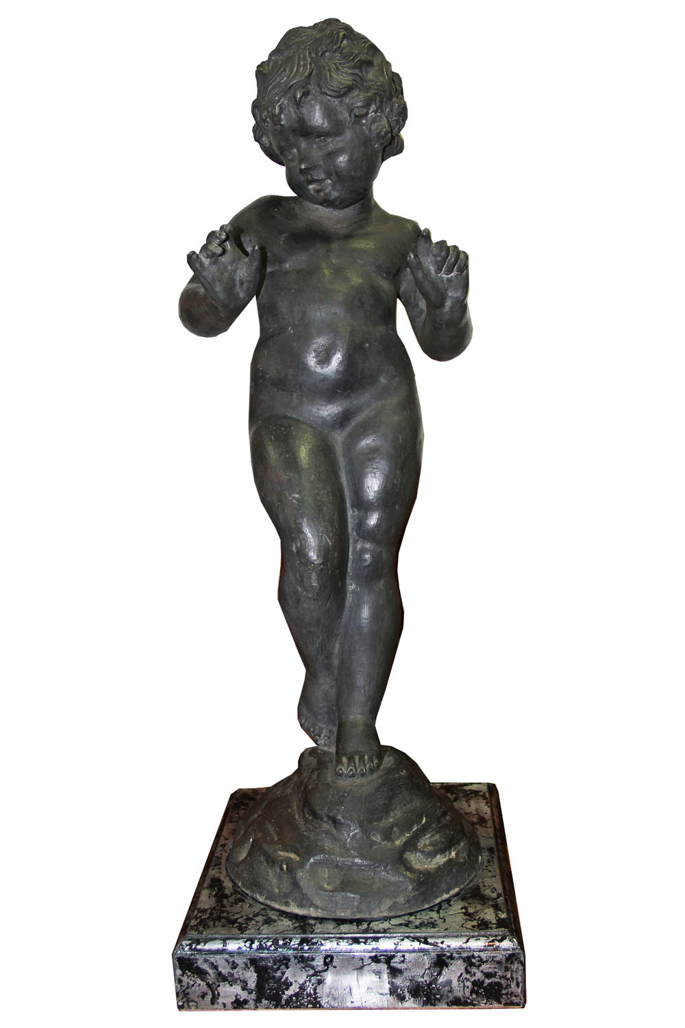 A 19th Century Italian Pewter Sculpture of a Putti No. 4529
