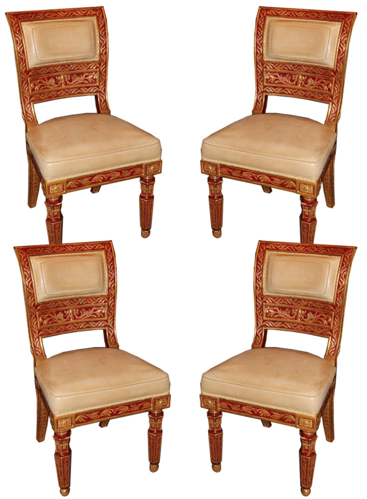 A Set of Four 18th Century Sicilian Polychrome and Parcel-Gilt Chairs No. 4545