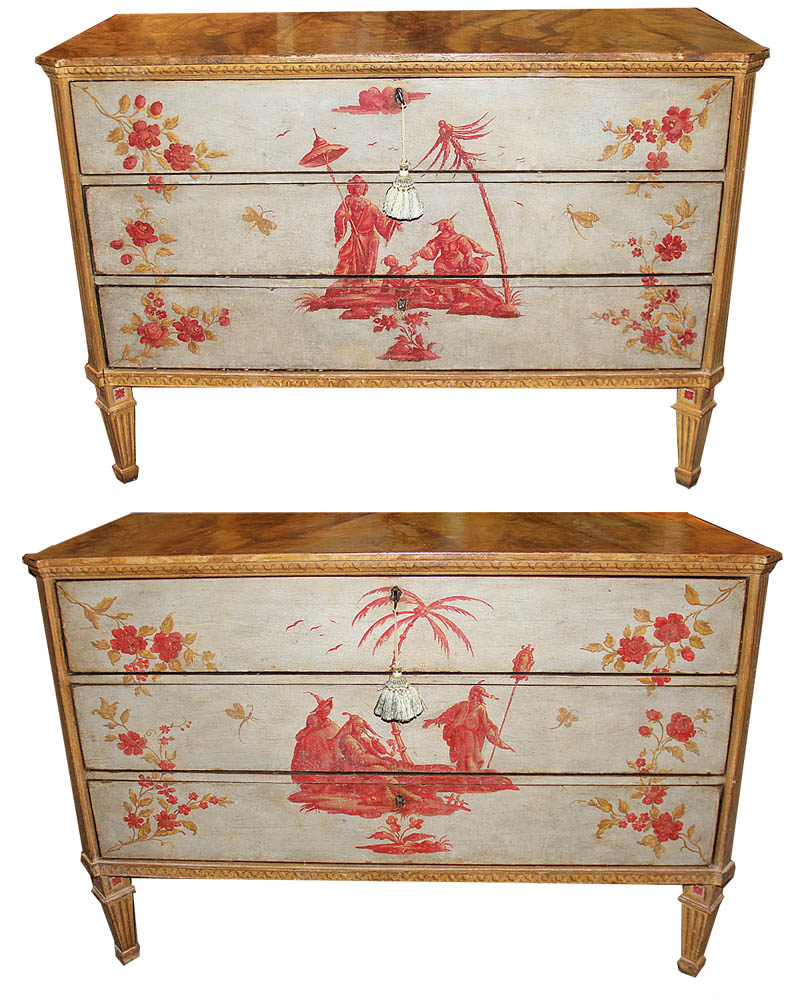 A Rare Pair of Important 18th Century Venetian Polychrome Commodes No. 4546