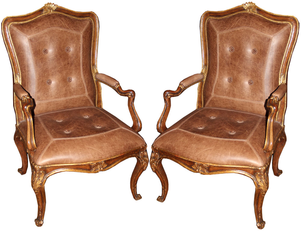 A Pair of 18th Century Italian Louis XV Walnut and Parcel-Gilt Armchairs No. 4548