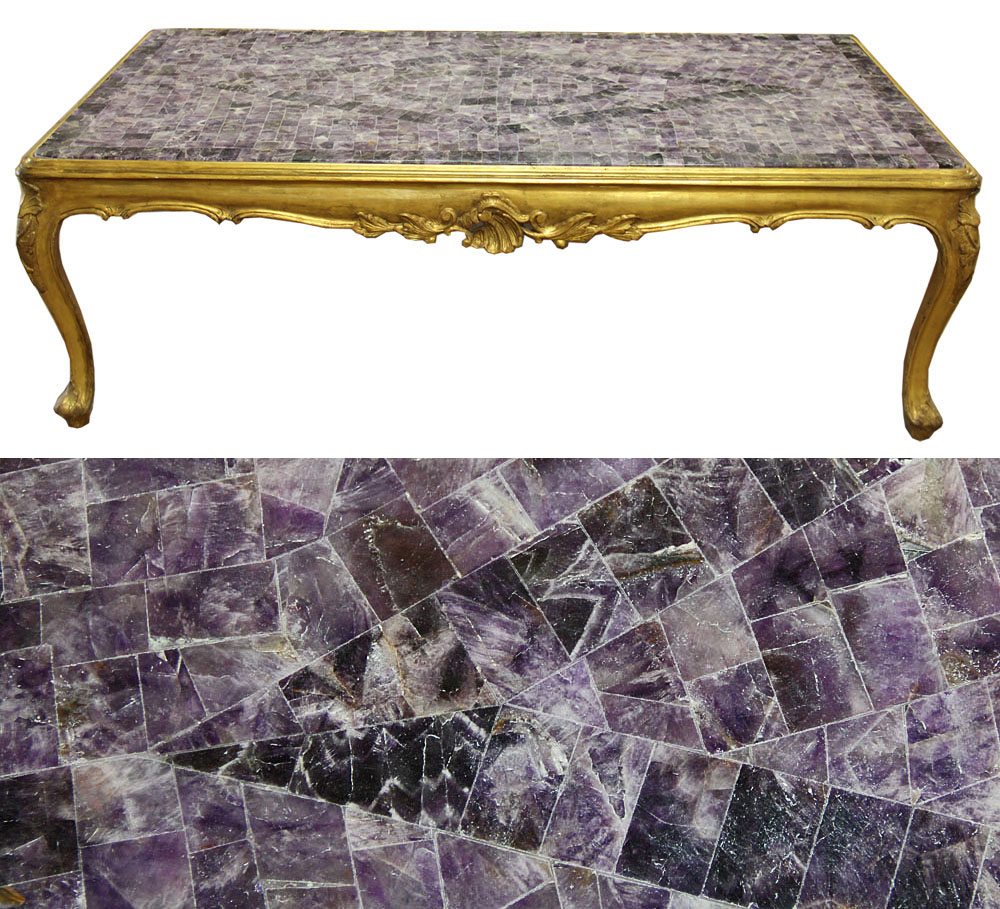 A Rare English Blue John (also known as 'Derbyshire Spar') Fluorite Crystal Coffee Table No. 4554