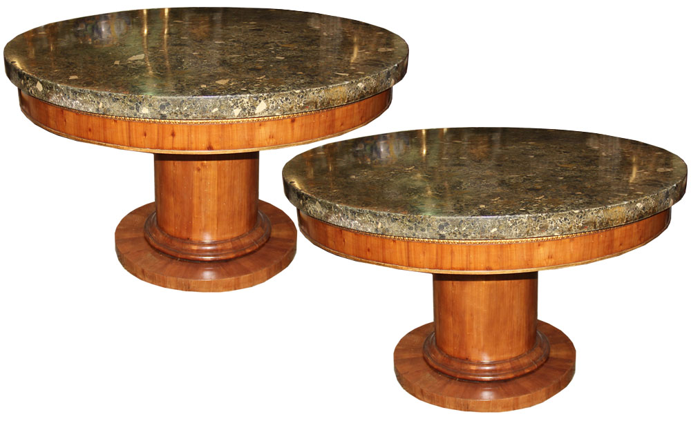 A Pair of 19th Century Italian Charles X Scagliola and Cherrywood Center Tables No. 4555