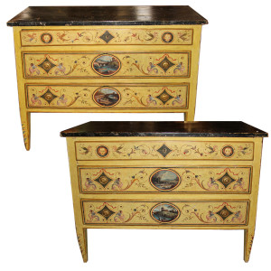 An Elegant Pair of 18th Century Neoclassical Luccan Louis XVI Polychrome Commodes No. 4556