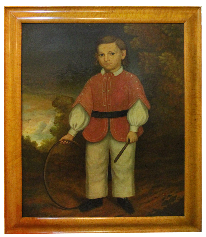A Wonderfully Naive 18th Century American Folk Art Oil on Canvas No. 4561