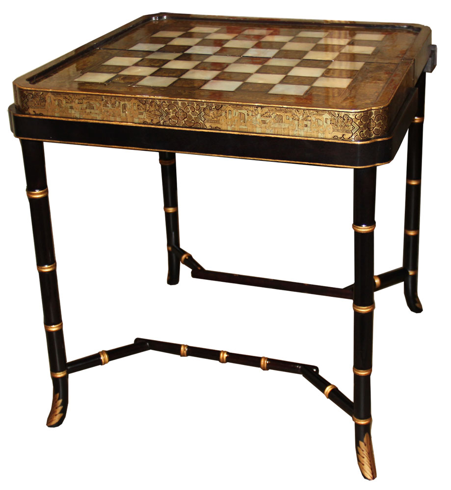 A 19th Century English Import of a Chinese Black Lacquer, Mother-of-Pearl and Parcel-Gilt Folding Games Board, Now Fitted with a Later C. Mariani Base as a Cocktail Table No. 4568