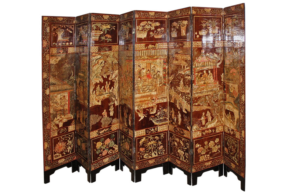 A Late 18th Century Chinese Export Sang de Boef Lacquer Screen No. 4413