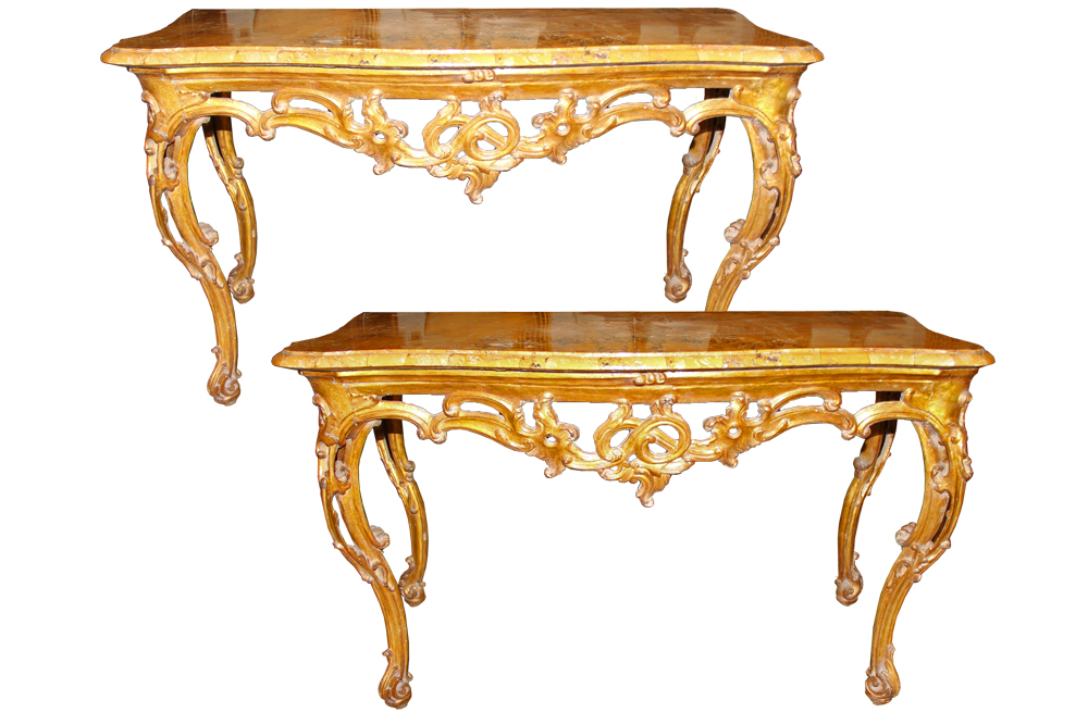 An Unusual and Extraordinarily Rare Pair of 18th Century Roman Rococo Mecca-Gilt Console Tables No. 4575