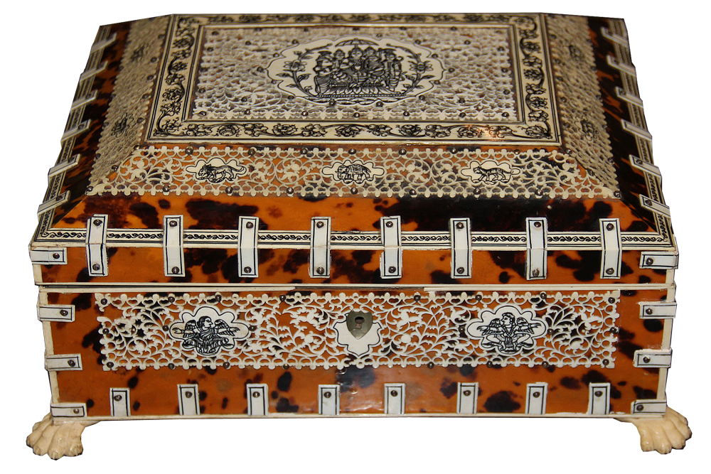 A 19th Century Anglo-Indian Vizagapatam Sandalwood, Tortoiseshell, Bone and Silver Studded Jewelry Box No. 4579