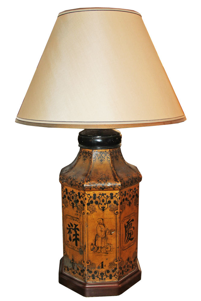 A 19th Century English Tole Chinoiserie Canister Lamp No. 4587