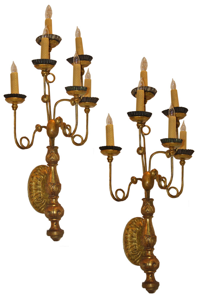 A Pair of 18th Century Italian Louis XVI Giltwood Girandole Wall Sconces No. 4589