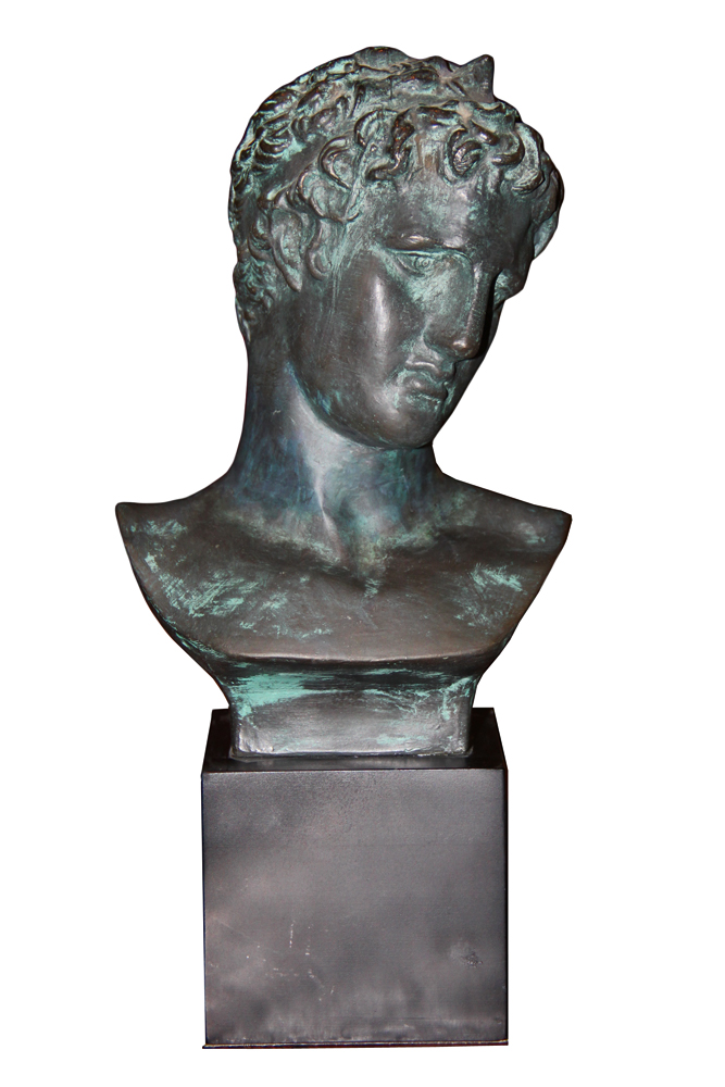 A Decorative 20th Century Italian Verdigris Bust of a Roman Male No. 4592
